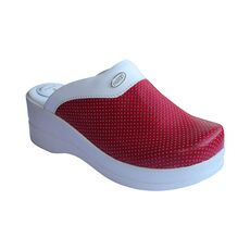 Cheap Perforated High Heel Red Women's Sabo Slippers, Color: Kırmızı, Size: 35 Wholesale Prices